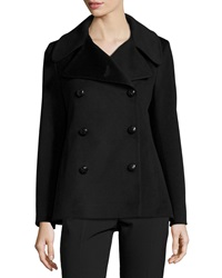 Fleurette Double Breasted Wool Peacoat Black