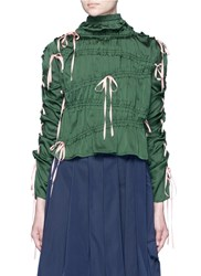 Angel Chen Lace Up Sleeve Drawstring Gathered Satin Top Green