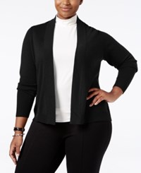Charter Club Plus Size Cashmere Open Front Cardigan Only At Macy's Classic Black