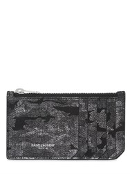 Saint Laurent Lame Camouflage Leather Zip Card Holder