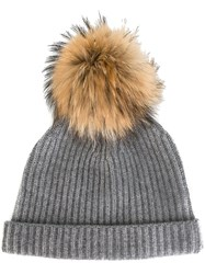 N.Peal Detachable Pompom Ribbed Beanie Grey
