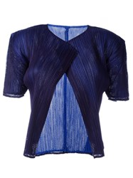 Pleats Please By Issey Miyake Vintage Pleated Shortsleeved Jacket Blue