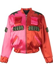 House Of Holland Two Tone Bomber Jacket Pink And Purple