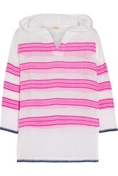 Lemlem Tinish Striped Cotton Blend Gauze Hooded Top Pink