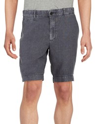 Black Brown Linen Shorts Dark Slate