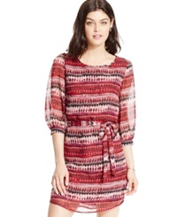 Speechless Juniors' Three Quarter Sleeve Printed Peasant Dress Red Black