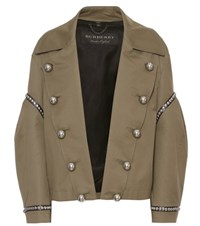 Burberry Embellished Cotton Field Jacket Green