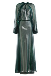 Maison Martin Margiela Chiffon Gown With Metallic Underdress Green
