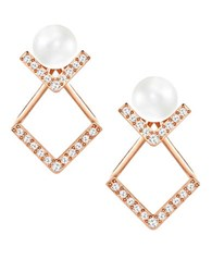 Swarovski Edify Faux Pearl And Crystal Drop Earrings Rose Gold
