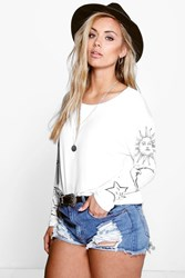 Boohoo Lisa Sun Moon Oversized Tee Cream