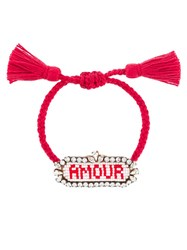 Shourouk 'Amour' Beaded Bracelet Pink And Purple