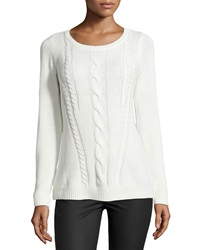 Neiman Marcus Long Sleeve Cable Knit Sweater Moon Goddess