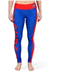 Forever Collectibles Women's Chicago Cubs Team Stripe Leggings Red Royalblue
