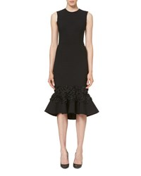 Carolina Herrera Embellished Flounce Hem Dress Black