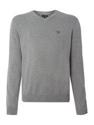Armani Jeans V Neck Embroidered Eagle Logo Jumper Grey