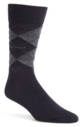 Men's Boss 'John' Wool Blend Argyle Socks Blue Dark Blue
