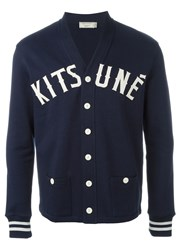 Maison Kitsuna Embroidered Logo Cardigan Blue