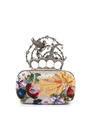 Alexander Mcqueen Flying Unicorn Sequin Embellished Knuckle Clutch Multi