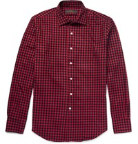Freemans Sporting Club Spread Collar Checked Cotton Flannel Shirt Red