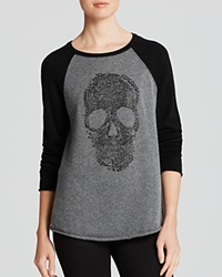 Aqua Cashmere Sweater Skull Color Block Crewneck