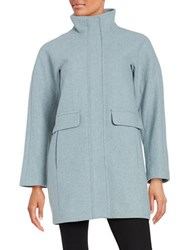 Vince Camuto Petite Funnelneck Zip Front Wool Blend Coat Blue Grey