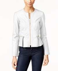 Inc International Concepts Macy's Faux Leather Peplum Moto Jacket Only At Macy's Bright White