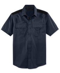 Sean John Men's Solid Twill Short Sleeve Big And Tall Shirt