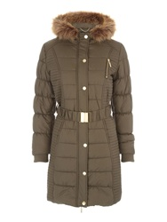 Jane Norman Longline Belted Puffa Coat Khaki