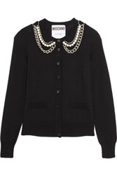 Moschino Embellished Wool Cardigan Black