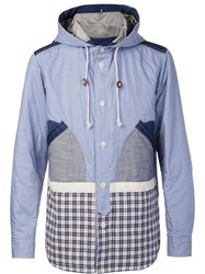 Junya Watanabe Comme Des Garcons Man Patchwork Hooded Jacket Blue