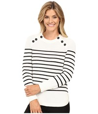 Vince Camuto Long Sleeve Stripe Sweater With Neck Button Trim Antique White Women's Sweater