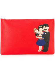 Dolce And Gabbana Family Patch Clutch Red