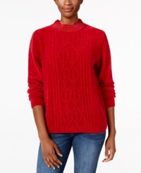 Alfred Dunner Beaded Neck Chenille Sweater Red