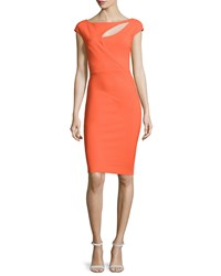 La Petite Robe Di Chiara Boni Jobeth Cap Sleeve Yoke Cutout Ruched Dress Mandarin Orange Size 2