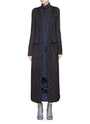Dries Van Noten 'Tabloid' Cloud Mohair Silk Knit Maxi Cardigan Metallic Multi Colour