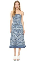 Sea Bleached Strapless Dress Indigo