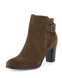 Alberto Fermani Ada Suede Tabbed Ankle Boot Olive Green Size 36.0B 6.0B