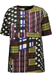 Marni Printed Cotton And Silk Blend Top Brown