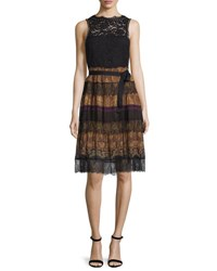Etro Paisley Tiered Lace Sleeveless Dress Black Gold Black Gold
