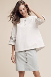 Anthropologie Anja Denim Top White