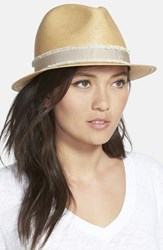 Rag And Bone Women's Rag And Bone 'Summer' Straw Fedora Beige Natural Multi