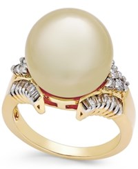 Macy's Cultured Golden South Sea Pearl 13Mm And Diamond 1 2 Ct. T.W. Statement Ring In 14K Gold Yellow