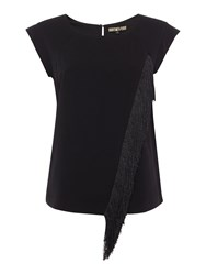 Biba Fringed Cap Sleeve Blouse Black