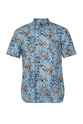 French Connection Koko Cotton Floral Short Sleeves Shirt Blue