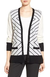 Halogenr Women's Halogen V Neck Lightweight Merino Cardigan Ivory Black Vivid Pattern