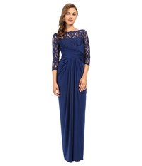 Adrianna Papell Lace And Venician Jersey Gown Navy Women's Dress