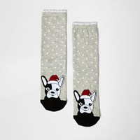River Island Womens Grey Santa Dog Print Socks