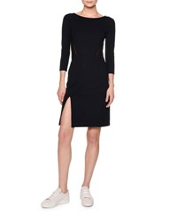 Callens Contrast Stitching Sheath Dress Navy Black Red