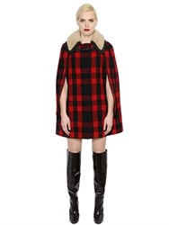 Maison Martin Margiela Plaid Wool And Shearling Cape