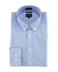 Neiman Marcus Trim Fit Non Iron Dobby Check Dress Shirt Blue